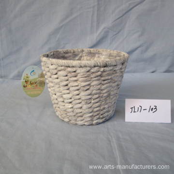 Round Wash White Water Hyacinth Basket